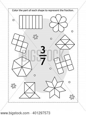 Math Educational Coloring Page With A Fraction And Various Shapes: Color The Part Of Each Shape To R