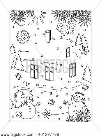 Small House, Or Cabin, In Winter Scene And Two Snowmen Full Page Connect The Dots Puzzle And Colorin