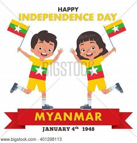 A Pair Of Boy And Girl Are Celebrating Myanmar Independence Day While Holding The Flag Of Myanmar An