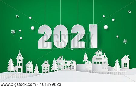 Happy New Year And Winter Season , Snow Urban Countryside Landscape City Village With Text 2021paper