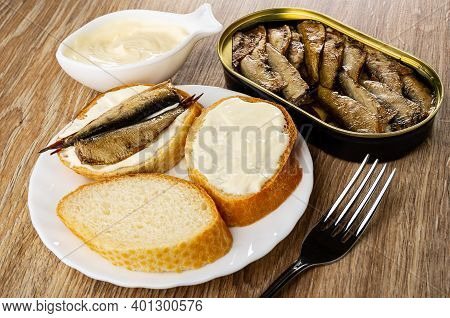 Bowl With Mayonnaise, Opened Jar With Sprats, Slice Of Bread With Mayonnaise, Sandwich With Sprats I