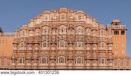 The Facade Of Hawa Mahal Palace In Jaipur