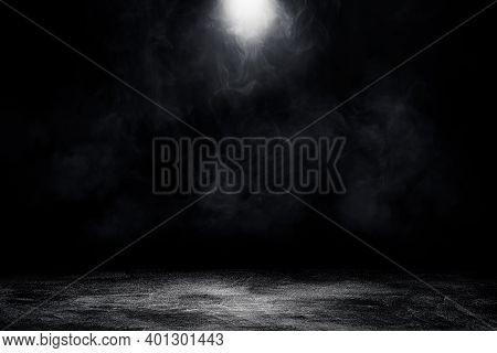 Empty Space Of Studio Dark Room Concrete Floor Grunge Texture Background With Spot Lighting And Fog