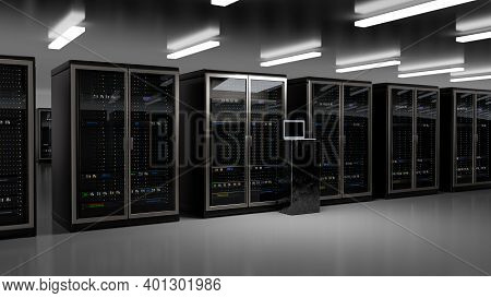 Server Room Data Center. Backup, Mining, Hosting, Mainframe, Farm And Computer Rack With Storage Inf