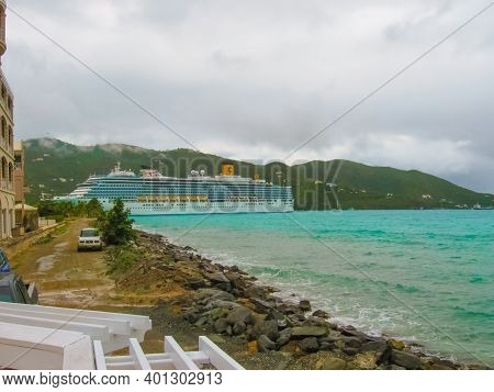View From A Cruise Liner To The Port Of Tortola Island
