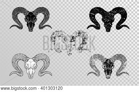 Vector Set Of Hand Drawn Skulls Wild Ram With Grunge Elements In Different Versions On A Transparent