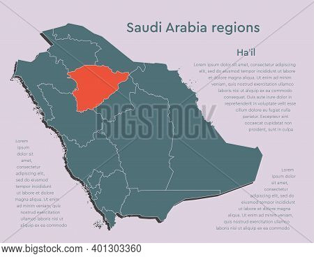 Map Saudi Arabia Divided Regions, Province Hail