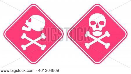 Human Skull In Side And Full Face View And Crossbones. Isolated Illustration In Flat Style On A Red