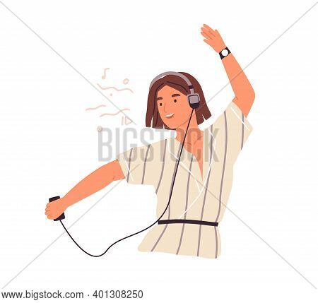 Cute Female Teenager Listening To Music In Headphones And Dancing Vector Flat Illustration. Happy Yo