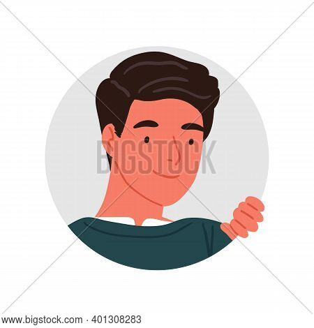 Portrait Of Peeping Smiling Young Man Vector Flat Illustration. Face Of Funny Male Searching Somethi