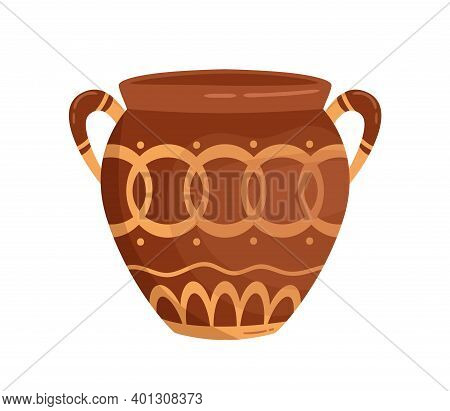 Antique Greek Vase With Handles Decorated By Traditional Hellenic Ornaments Vector Flat Illustration