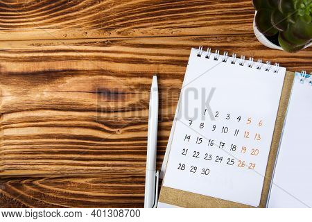 White Calendar For 2021 Month Schedule To Make An Appointment Or Manage The Schedule Every Day On A