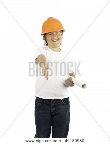 Boy In Hard Hat With Outstretched Hand