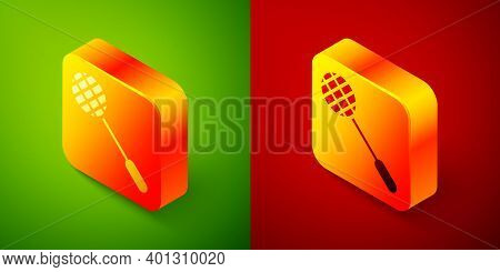 Isometric Tennis Racket Icon Isolated On Green And Red Background. Sport Equipment. Square Button. V