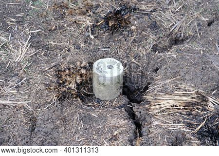 Land Boundary Principles Or Land Boundary Post Made From Concrete Into Cylinder Or Tube-shaped And P
