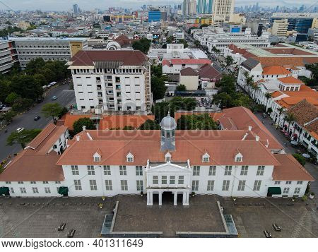 Aerial View. Fatahilah Museum At Old City At Jakarta, With Jakarta Cityscape. Indonesia. Jakarta, In