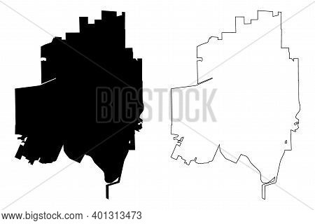 Sugar Land City, Texas (united States Cities, United States Of America, Usa City) Map Vector Illustr