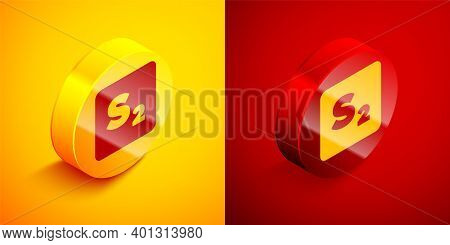 Isometric Bingo Icon Isolated On Orange And Red Background. Lottery Tickets For American Bingo Game.