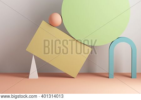 Abstract Still Life Installation With Arch And Colorful Balancing Primitives. 3d Rendering Illustrat