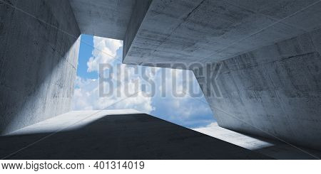Empty Abstract Concrete Interior With Cloudy Sky Behind An Enpty Window. Modern Minimalistic Archite