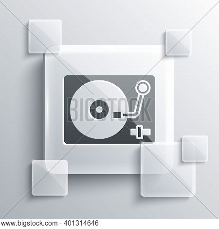 Grey Vinyl Player With A Vinyl Disk Icon Isolated On Grey Background. Square Glass Panels. Vector
