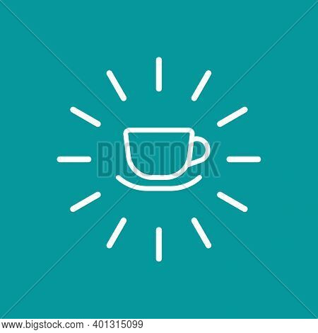 Hot Cup Icon. Shining Mug With Tea Or Coffee Icon Flat. White Line Pictogram Isolated On Blue Backgr