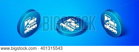 Isometric Vintage Locomotive Icon Isolated On Blue Background. Steam Locomotive. Blue Circle Button.