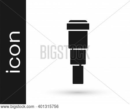 Black Spyglass Telescope Lens Icon Isolated On White Background. Sailor Spyglass. Vector