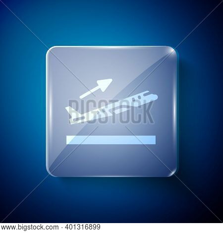 White Plane Takeoff Icon Isolated On Blue Background. Airplane Transport Symbol. Square Glass Panels