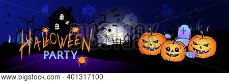 Vector Illustration With Pumpkins Head, Cemetery, Abandoned House, Bats And Text On Nightly Backgrou