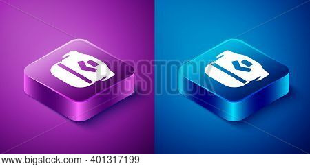 Isometric Pilot Hat Icon Isolated On Blue And Purple Background. Square Button. Vector