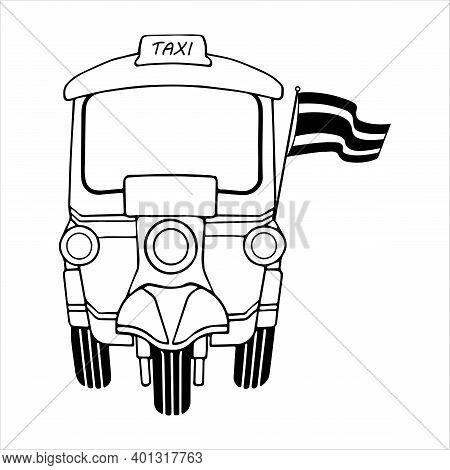 Tuk Tuk Bangkok With Thai Flag, Retro Tricycle Vehicle, Traditional Tourism Style Symbol, Front View