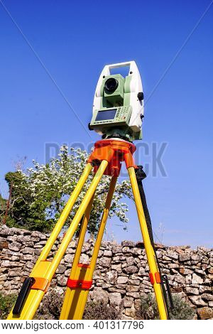 Total Station. Survey Instrument Geodetic Device, Total Station Set In The Field. Total Station Surv