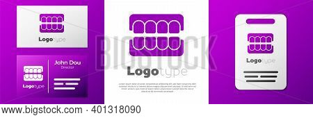 Logotype False Jaw Icon Isolated On White Background. Dental Jaw Or Dentures, False Teeth With Incis
