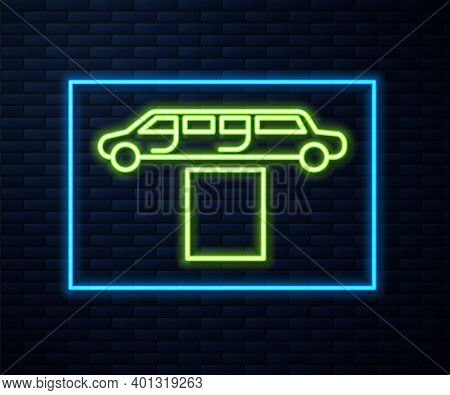 Glowing Neon Line Luxury Limousine Car And Carpet Icon Isolated On Brick Wall Background. For World