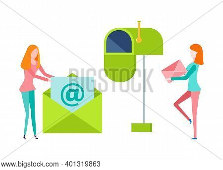 Women Holding Letter, Female With Paper In Envelope, Portrait And Side View Of People. Green Postbox