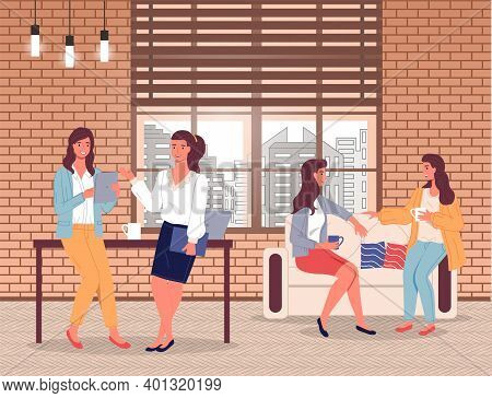 Businesswoman S Office Life, Stylish Businesswomen Communicating With Colleagues, Two Girls Friends