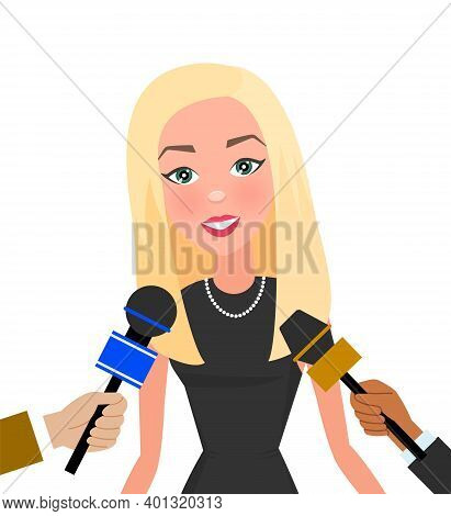 Press Conference With Slender Woman. Journalist With Microphone Interviews A Super Famous Model. You