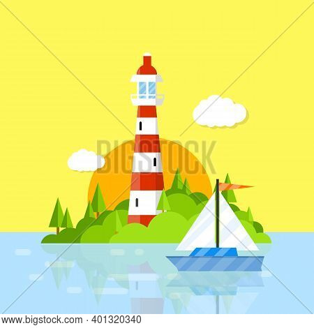 Beautiful Lighthouse In The Harbor. Red White Tower. Attraction For Tourists At Sea. A Green Island