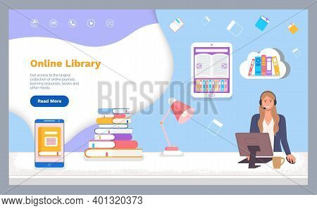 Landing Page Of Website. Online Library. Woman Operator Using Computer. Electronic Books, E-books. R