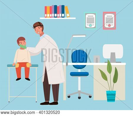 A Patient At The Doctor S Appointment. Otolaryngologist Examines Oral Cavity Of A Little Boy. Ent Ho