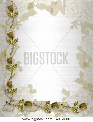 Wedding Invitation Gold Roses And Ribbons