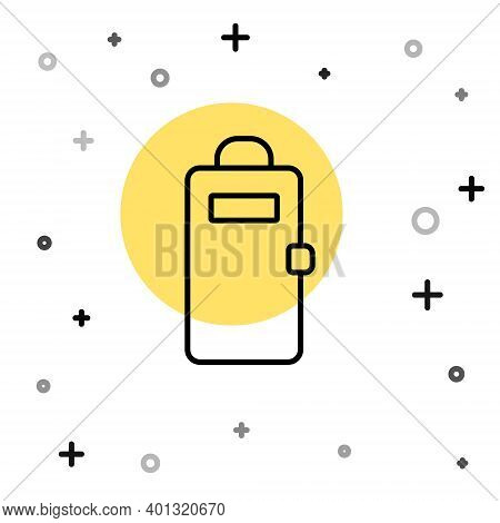 Black Line Police Assault Shield Icon Isolated On White Background. Random Dynamic Shapes. Vector