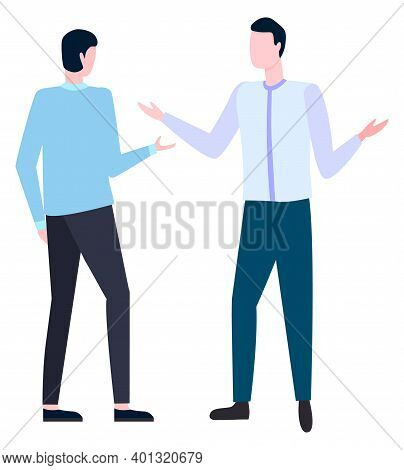 Two Businessman Arguing How To Write Business Plan. Vector Office Workers In White Collars Discussin