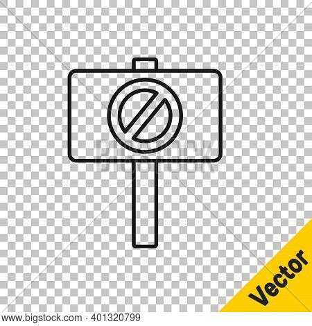 Black Line Protest Icon Isolated On Transparent Background. Meeting, Protester, Picket, Speech, Bann