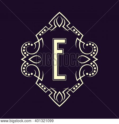 Elegant Monogram Design With Letter E. Business Emblem, Glamour Badge, Vintage Initial Label Templat