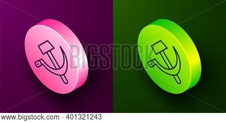 Isometric Line Hammer And Sickle Ussr Icon Isolated On Purple And Green Background. Symbol Soviet Un