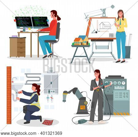 Modern Woman In The Male Profession, Factory Engineer Near The Machine, Architect Makes A Project, P