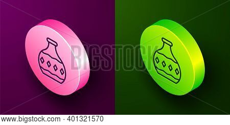 Isometric Line Tequila Bottle Icon Isolated On Purple And Green Background. Mexican Alcohol Drink. C