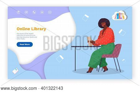 Online Library, Website, Landing Page Concept, Electronic Books, E-books, Read Literature, Black Wom